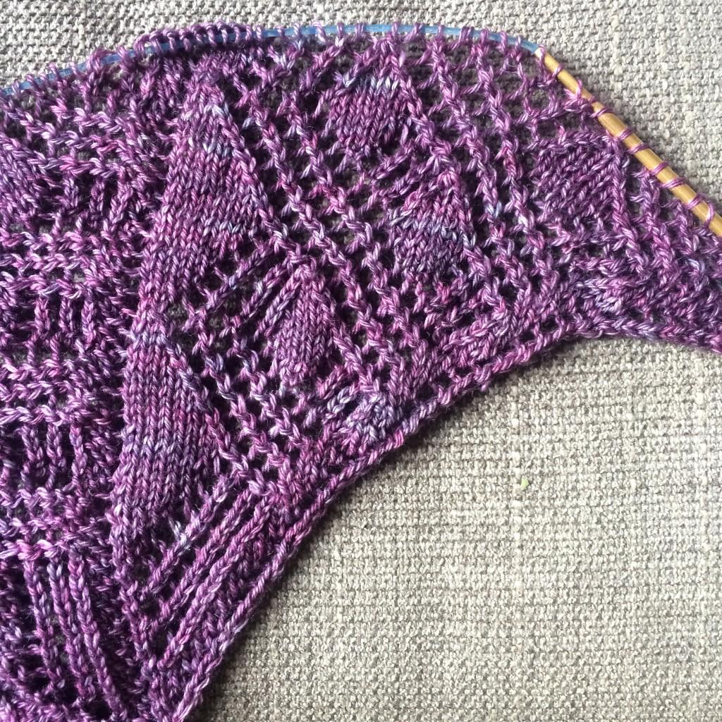 unblocked lace shawl