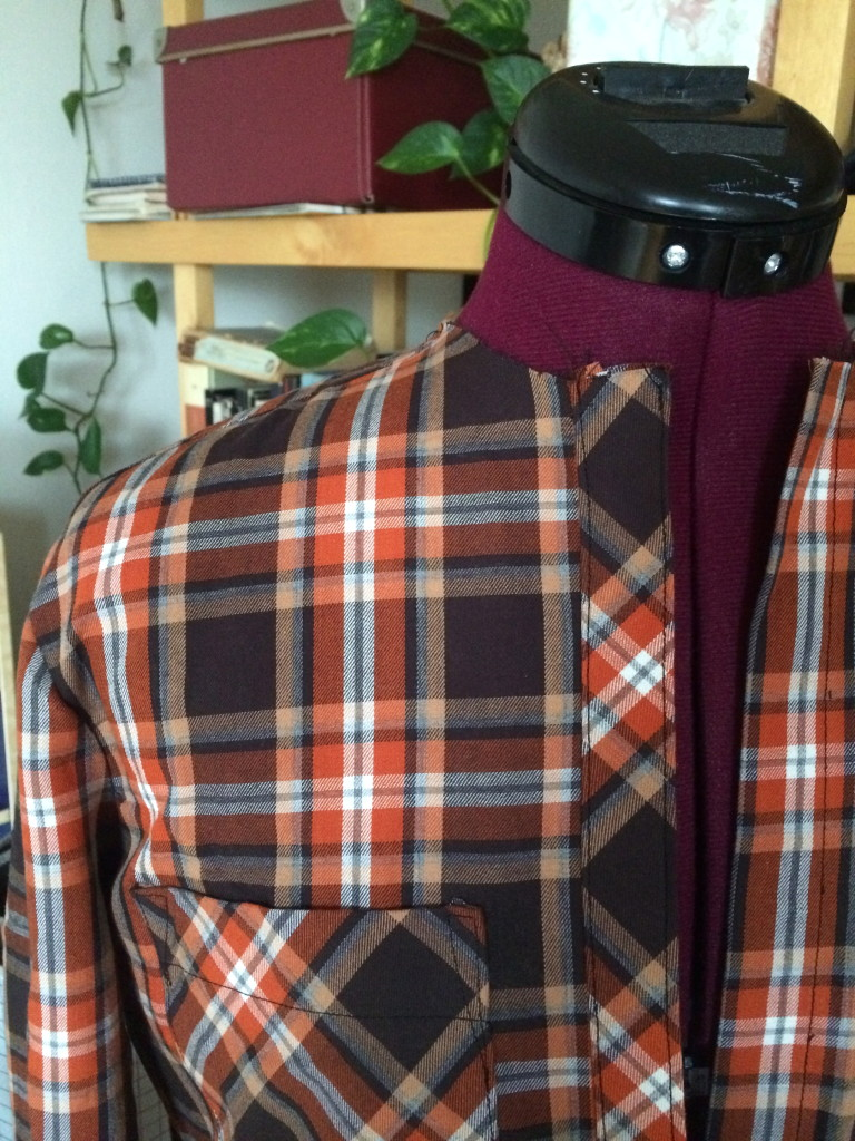 orange and brown Archer button up shirt