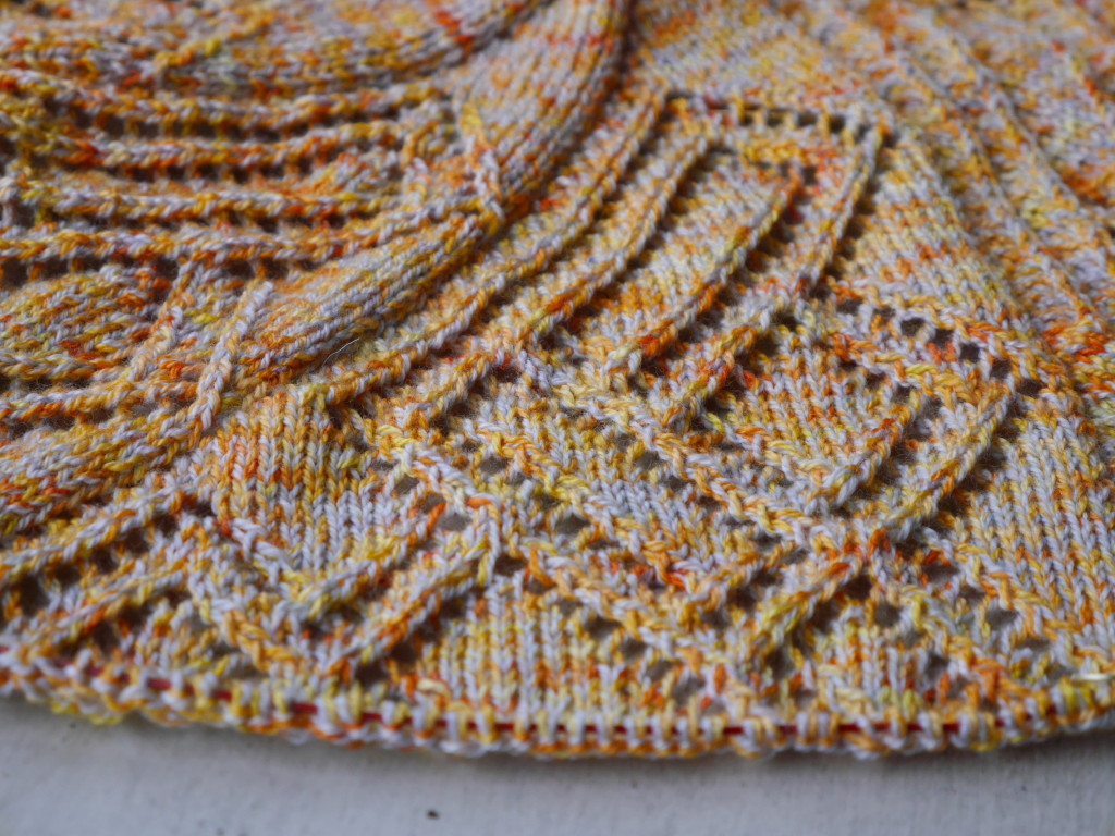 knit lace shawl in Toil and Trouble yarn