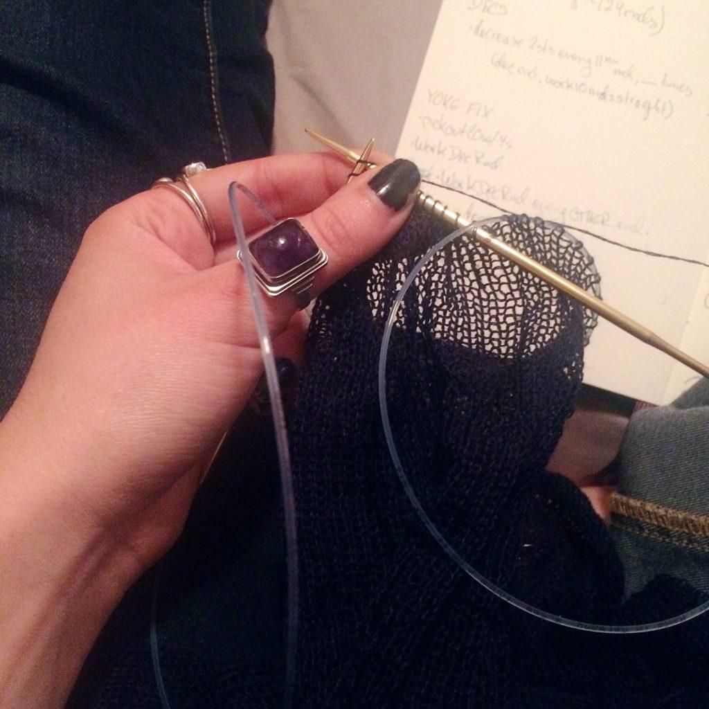 late night sweater knitting