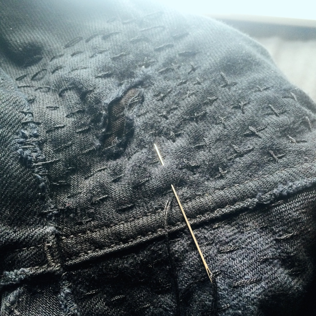 Mending Jeans - In Progress