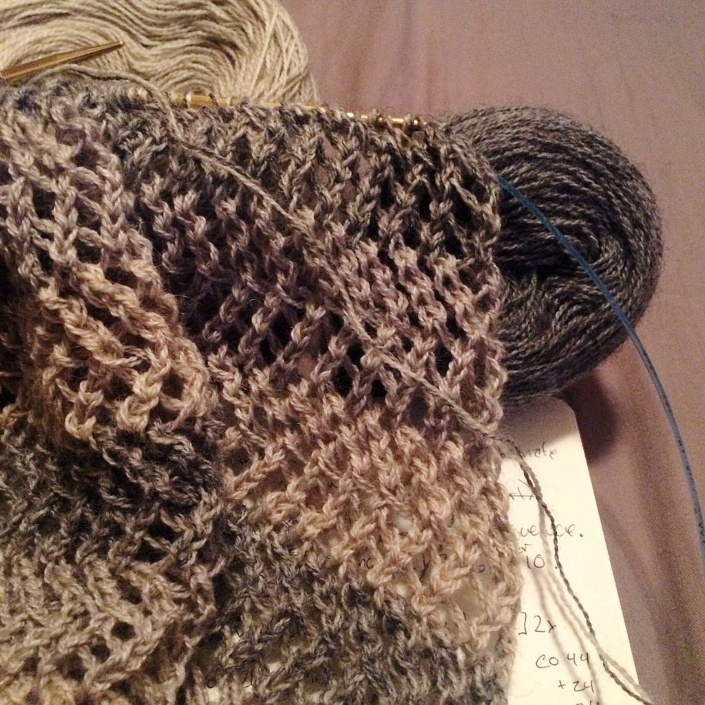 knitting a sweater