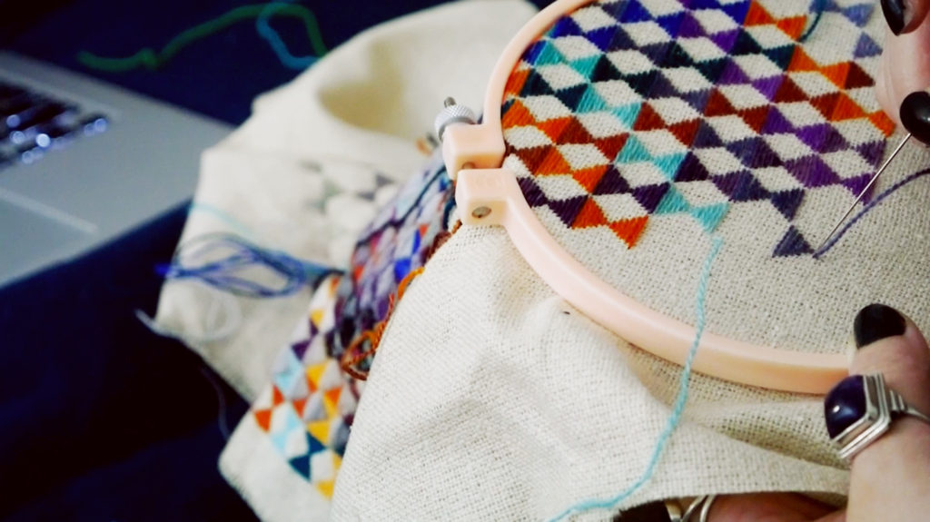 Holly chayes checking off steps and meditative stitching