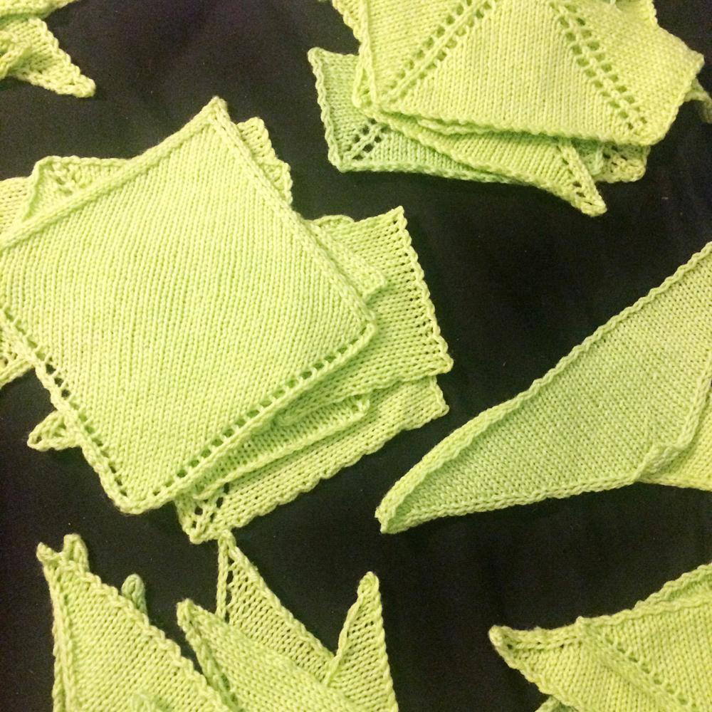 knit shawl shape swatches